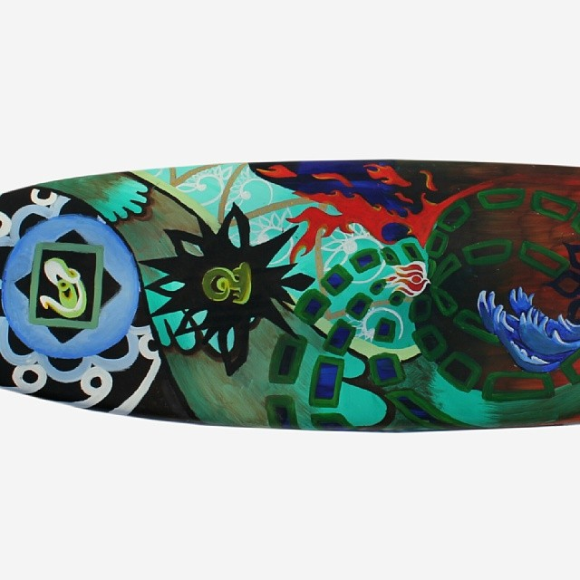 "In Motion. 7'2"" painted NSP #funboard from #globalsurfindustries by #tattoo #artist #chandralightheart #christmaspresent #oregon #art bid on it now http://paddle8.com/auctions/wavesfordevelopment"