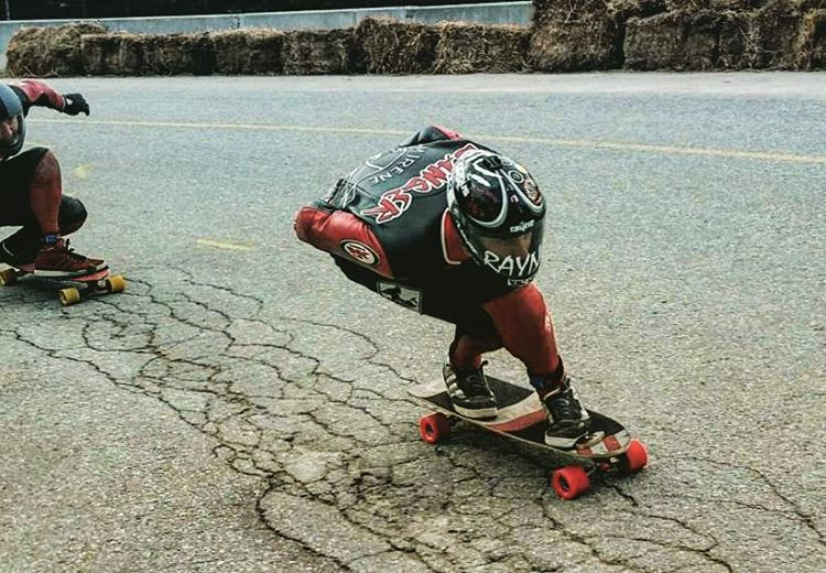 Qualifying day at @whistlerlbfest and @danger_dane69 leads Team Irene through the chunder line. Thanks to @predatorhelmets for the pic.  #whistler #longboard #downhill