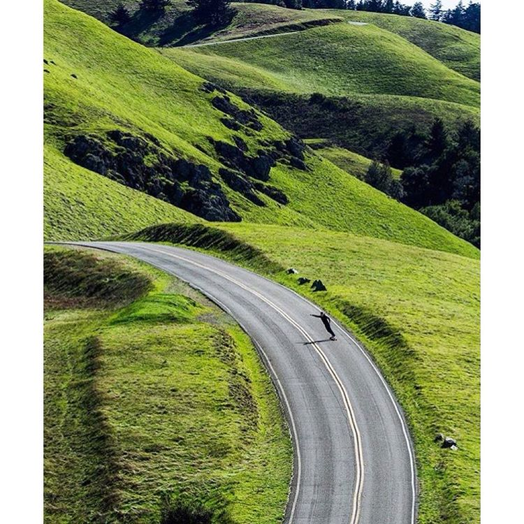 #Longboarding through the green rolling hills of Mt. Tam. ✅ Shot giving us LIFE. #Regram via @adamraymaker ➰ @maxwelltg #MtTam #inspiration #Indosole #TiresToSoles #SolesWithSoul