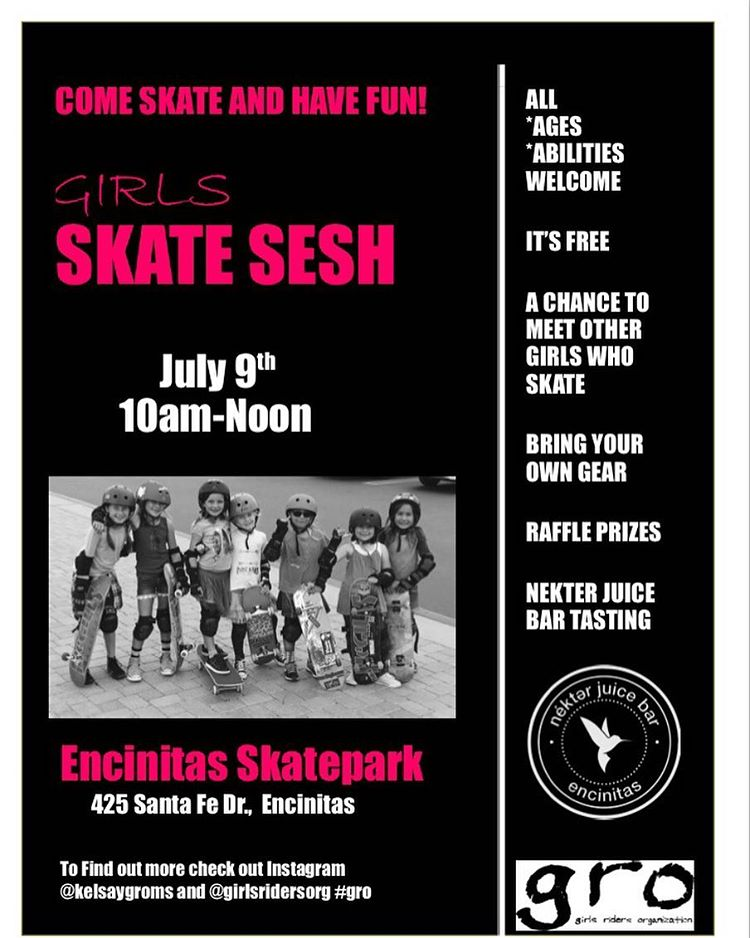 SAVE THE DATE AND COME SKATE WITH US!!! Our first session at Encinitas skatepark is coming up! Come join us! Everyone is welcome! #skatefriends #girl #girlsthatskate #skatergirl #encinitas #cardiff #leucadia #event #fun #skate #skateboarding...