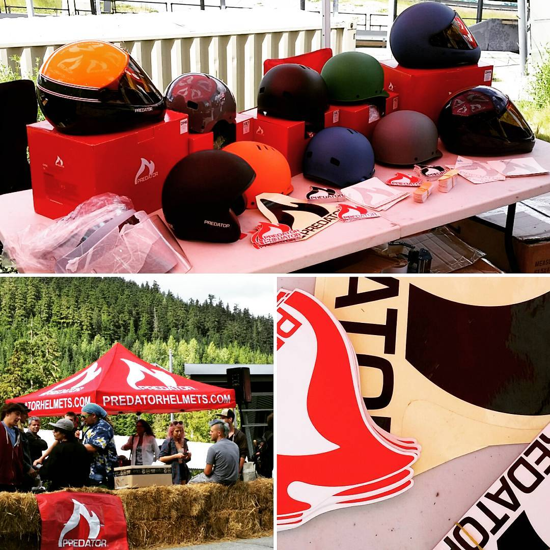We're hanging out at @whistlerlbfest with @coastlongboarding on the mic all day. Come by the tent and grab a sticker and try and get a hat out of us! We're also selling a few helmets from the line. #DH6 #FR7 #SK8 #DH6OF  #PredatorHelmets...