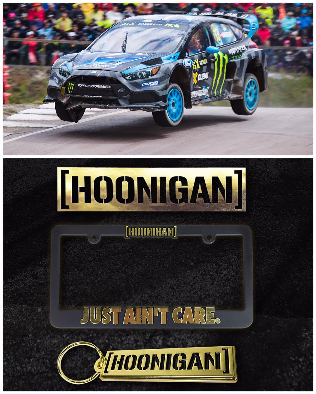 It's Hoonigan #goldstickertime! Because when we win, you win. And because @AndreasBakkerud just won #HoljesRX, that means anything you buy at #HooniganDOTcom over the next 48 hours comes with a free gold Hoonigan sticker! And a special gold license...