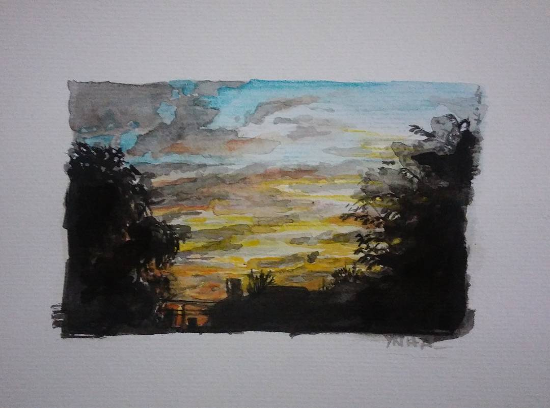 Tanta agua afuera, que se me dio por mezclarla con colores adentro. #art #arte #artwork #acuarela #aquarelle #watercolour #watercolor #sunset #tramonto #atardecer