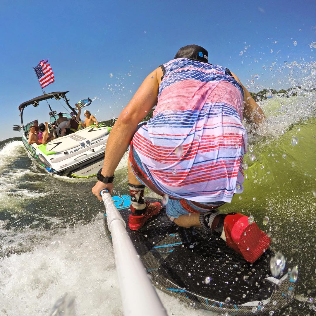 Happy 4th of July! Shot with GoPro HERO4 and GoPole Reach. #gopro #gopole #gopolecenturion #wakesurf #4thofjuly #merica #