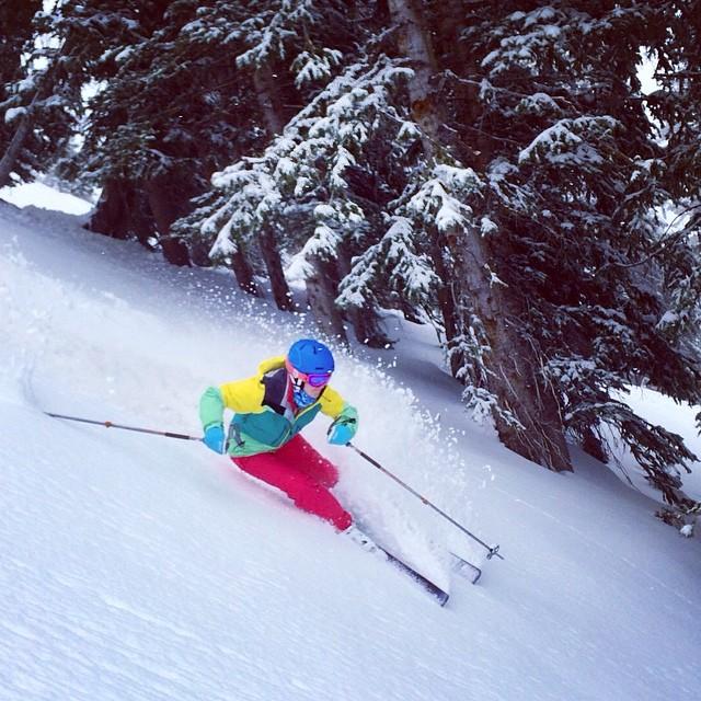 @carolinekholden doing her best to soak up the pow at Alta this weekend. #stella #trew #cantstopwontstop