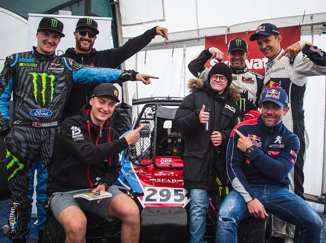 Ha, look at this little dude (@OliverSolberg295) surrounded by some of the biggest names in rally/rallycross: Andreas Bakkerud, myself, Reinis Nitiss, Petter, Sebastien Loeb, and Matthias Ekstrom. That's a lot of world championships around him! Oliver...