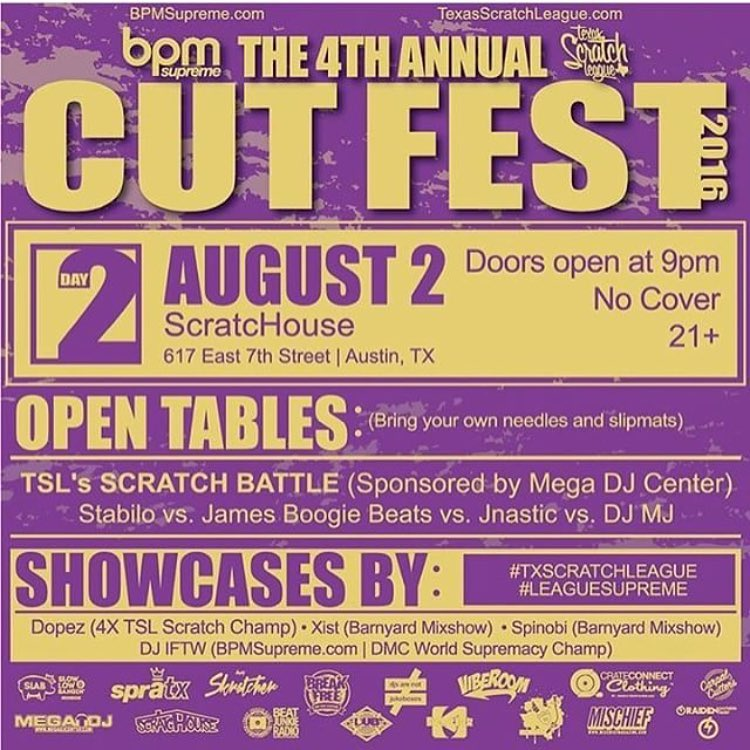 Mark the calendar for August 2nd!!! We are proud to sponsor our good friends @txscratchleague they are throwing the 4th annual Cut Fest 2016! • • We hope to see you there! Don't forget to bring your needles and slipmats! • • #ATX #austintx #texas #tx...
