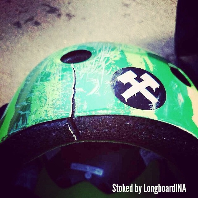 A skateshop in #indonesia @longboardina that carries #s1helmets sent us a note today about how a kid slammed going 50 mph and how the #s1 #lifer #helmet saved his life. The helmet crAcked but his head was fine. So stoked!  #keepskating #skateforlife...