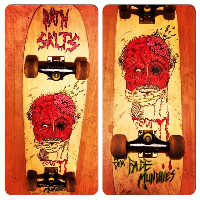"Team rider Chad Lybrand's--@ragnarsword artwork for his girlfriends--@hana_lily skateboard. ""Just for you baby. Bath salts!"" #chadlybrand #skateboard #art #bonzing #Sanfrancisco #shapers #artists #bathsalts"