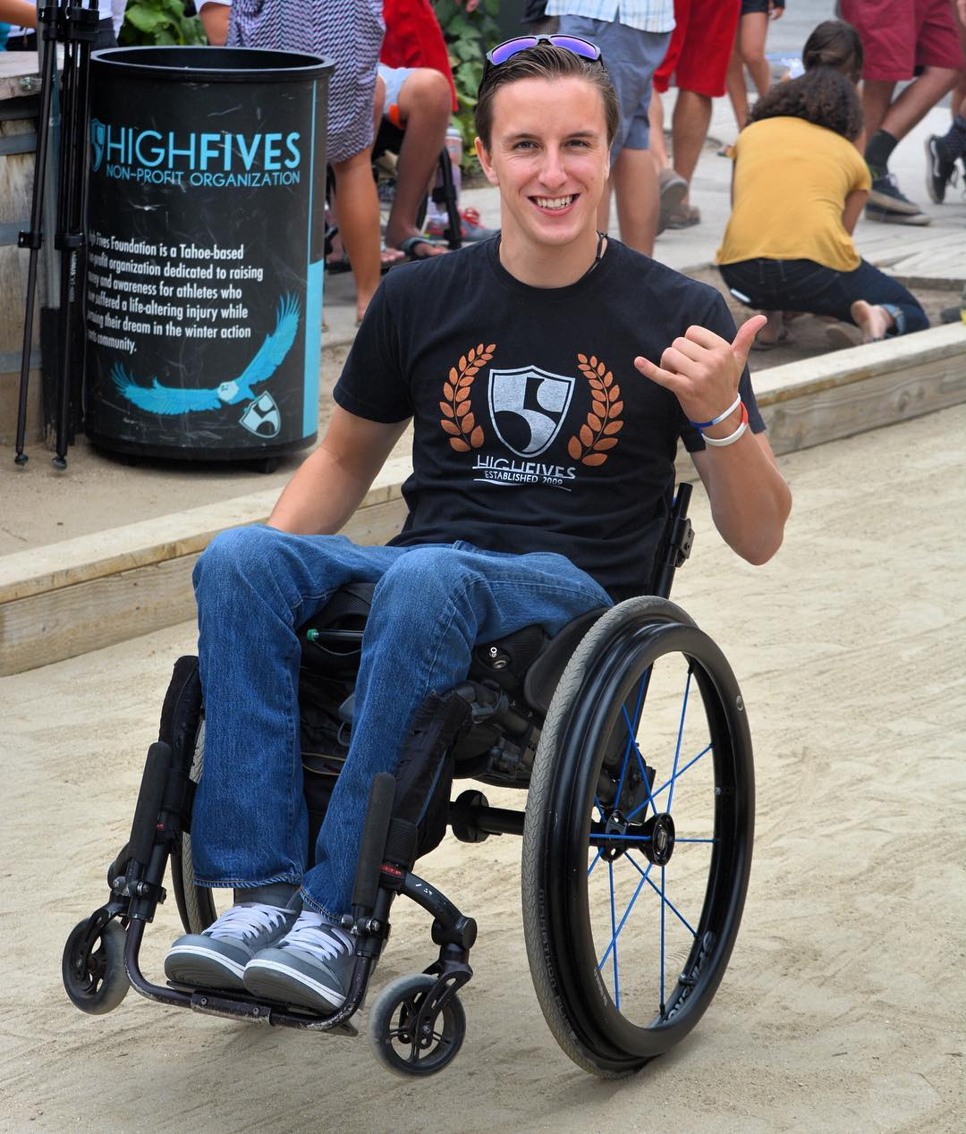 Birthday wishes go out to #HighFivesAthlete Nick Fairall! This guy has mono-skied for the first time, participated in a Paralympic mono-ski race camp, visited the @crj_healingctr in Truckee 3 times, participated in an adaptive waterski camp, road a...