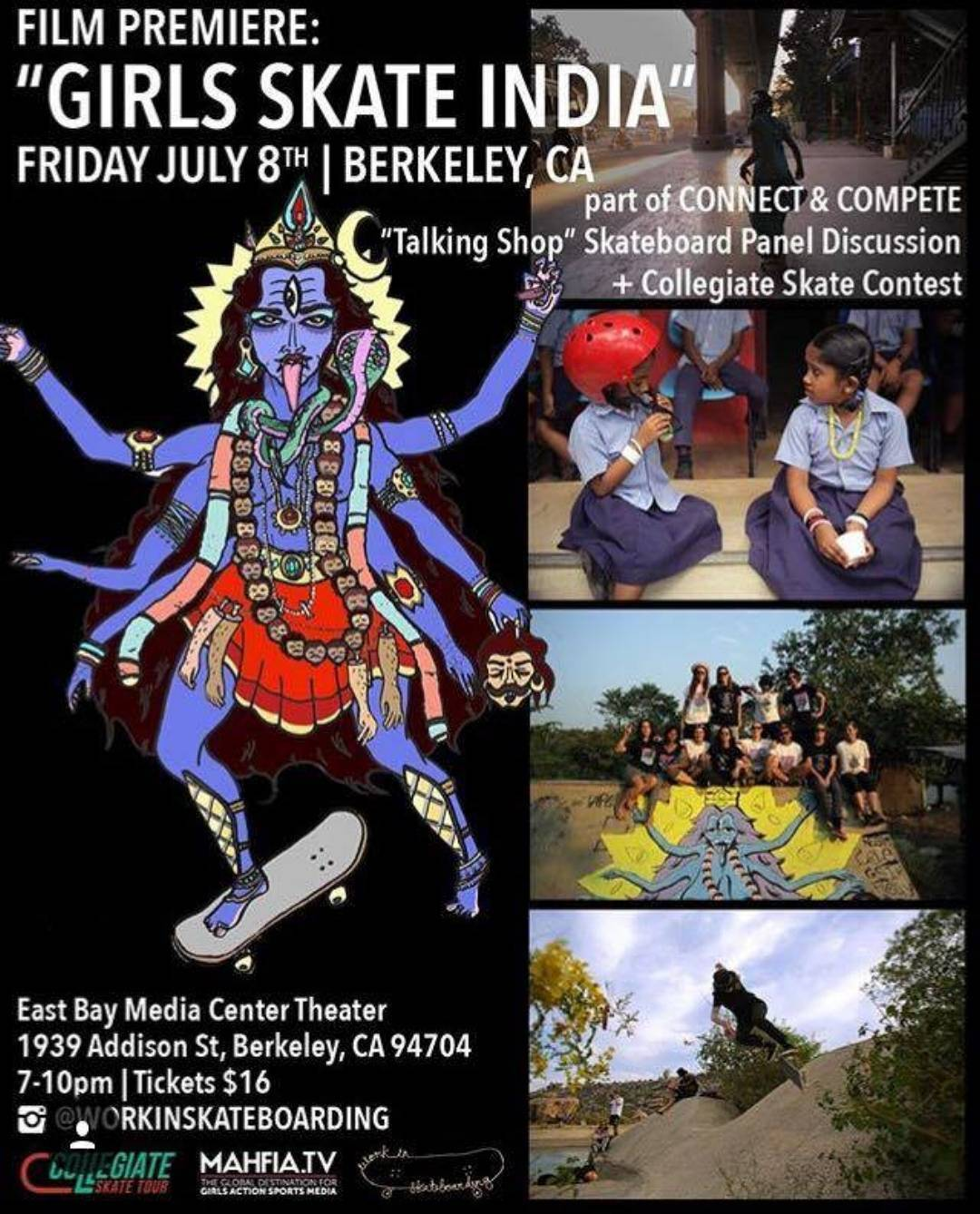"If you happen to be in the Berkeley/ Nor. Cal. area consider scoping out this amazing opportunity! Experience the""Talking Shop"" skate industry panel and workshop, followed by the premiere of @girlskateindia ! The following morning is a Free Girl's..."