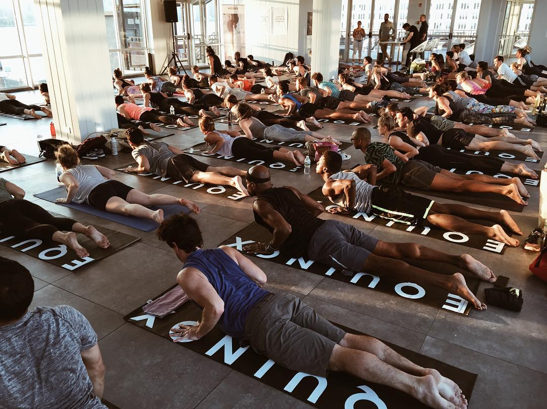 Brb, it's time to relax. #HICKIESFit yoga #packedhouse @equinox