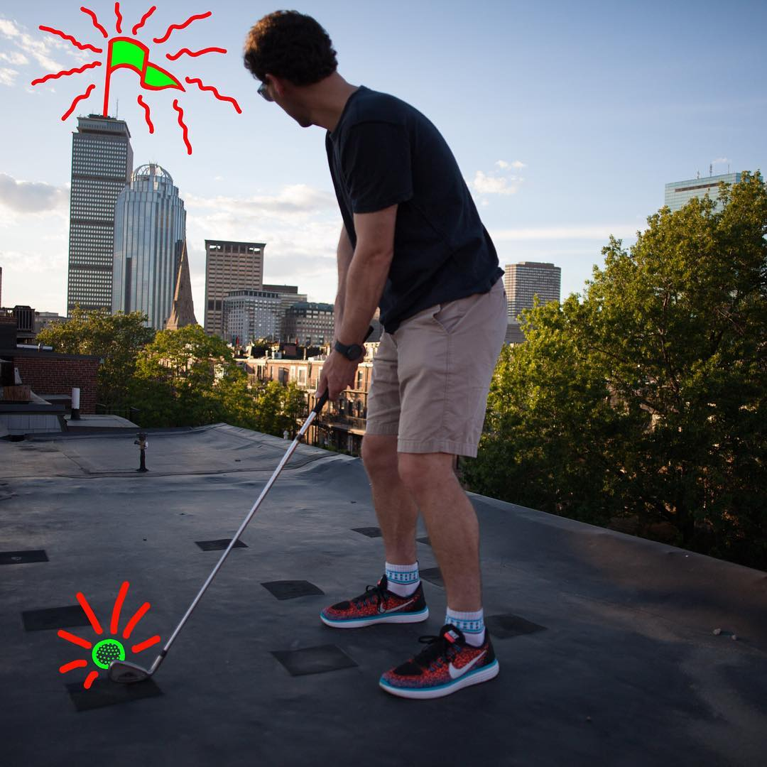 This is our version of a par 3 #golf #fore #boston #prudentialcenter #happygilmore #rooftop #socks #fashion