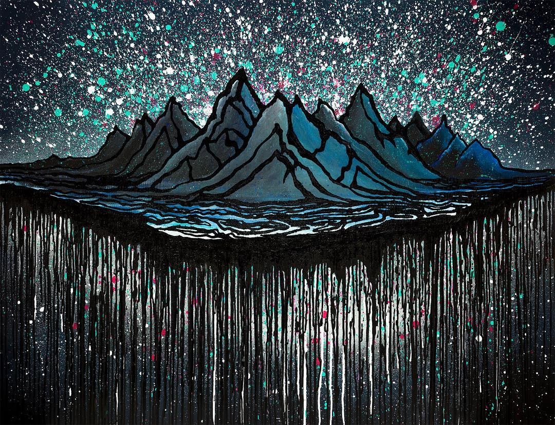 "Ask and ye shall receive! @bryaniguchi's newest homage to mother earths greatest gift, the mountains. Northern Lights was inspired my his anticipation surround a trip to mighty Alaska and is available in three different sizes, 36x28.7517x14"",..."