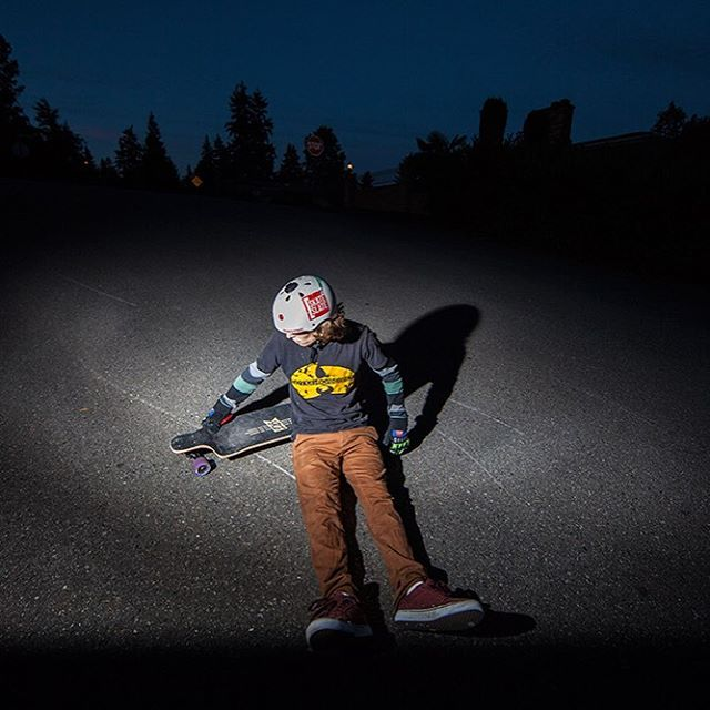 "Devon Dotson chilling with the Contra 35.5"" during a night skate session. #dblongboards #dbcontra #longboard #nightskate #seattle"