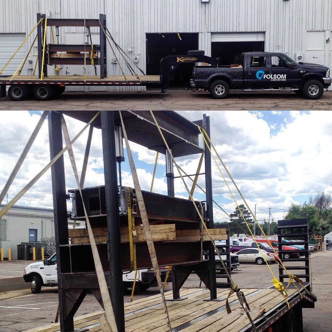 It's not often something makes the #f350 look small. This ski press did however. The press was so big it would not even fit through our garage bay doors. So we took it to the fab shop to re-dimension this bad boy. #bigboytoys #madeintheusa #custom...
