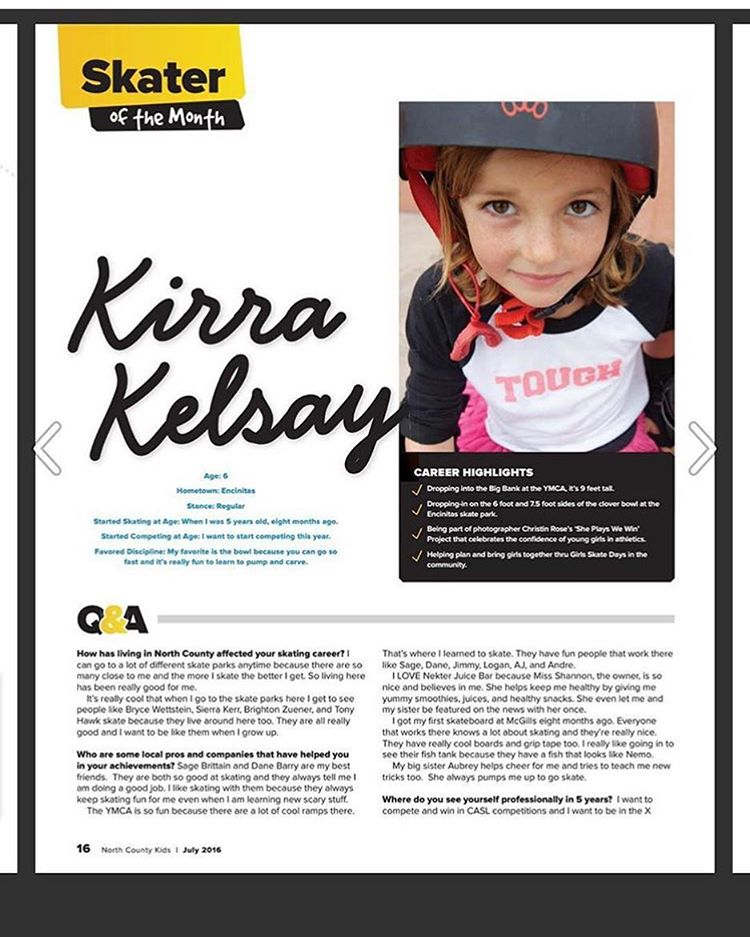 Congrats to Kirra of the @kelsaygroms who was named skater of the month in her local magazine in Encinitas!! Make sure you come out this Saturday to the Encinitas Skatepark to skate with her and a bunch of other rad #ladiesofshred