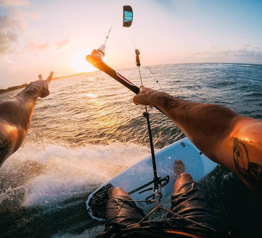 Photo of the Day! When the sun goes down after a long day #kiteboarding, @oronkessel says ✌️ out! #GoPro #Kite #KiteSurfing #DominicanRepublic #DR