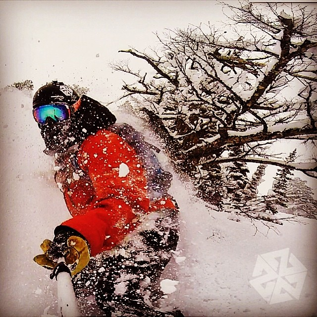 Spring #pow rules! @robkingwill enjoys the latest storm.  #avalon7 #jacksonhole #shredpow www.avalon7.co