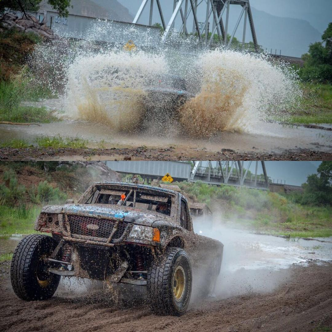 @quendo67 beasting through one of the many water crossings at Caliente, NV in his #1466 Ranger. #hoonigan