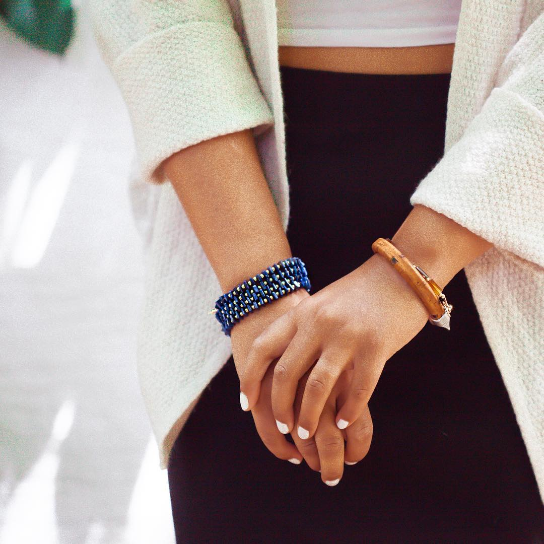 "South Pacific inspired Look Book. Lapis Ceremony Wrap Bracelet ($64, hand strung Lapis specialty cut stones at 29"" long) & Anchor Bracelet in Brown ($34 made with Portuguese cork)  A big thanks to the beautiful model @vvannkuja for a really fun shoot!..."