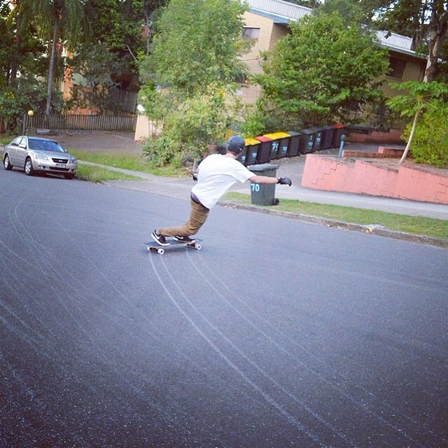 @jordanriachi lays down some fat lines, rocking his new caliber precisions and @skatebloodorange Morgan wheels.
