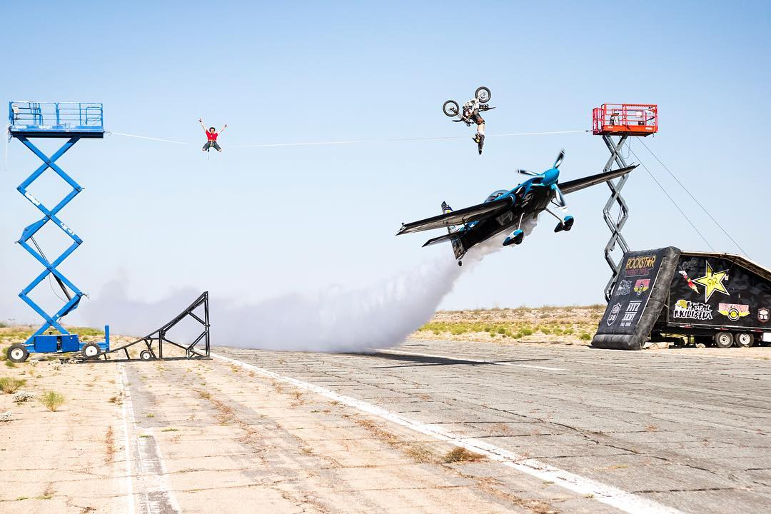 Moto X OG @JFitzo no-handed backflipped a single-passenger biplane on his 238-pound dirtbike!  Click the link on our profile page to check him out. (