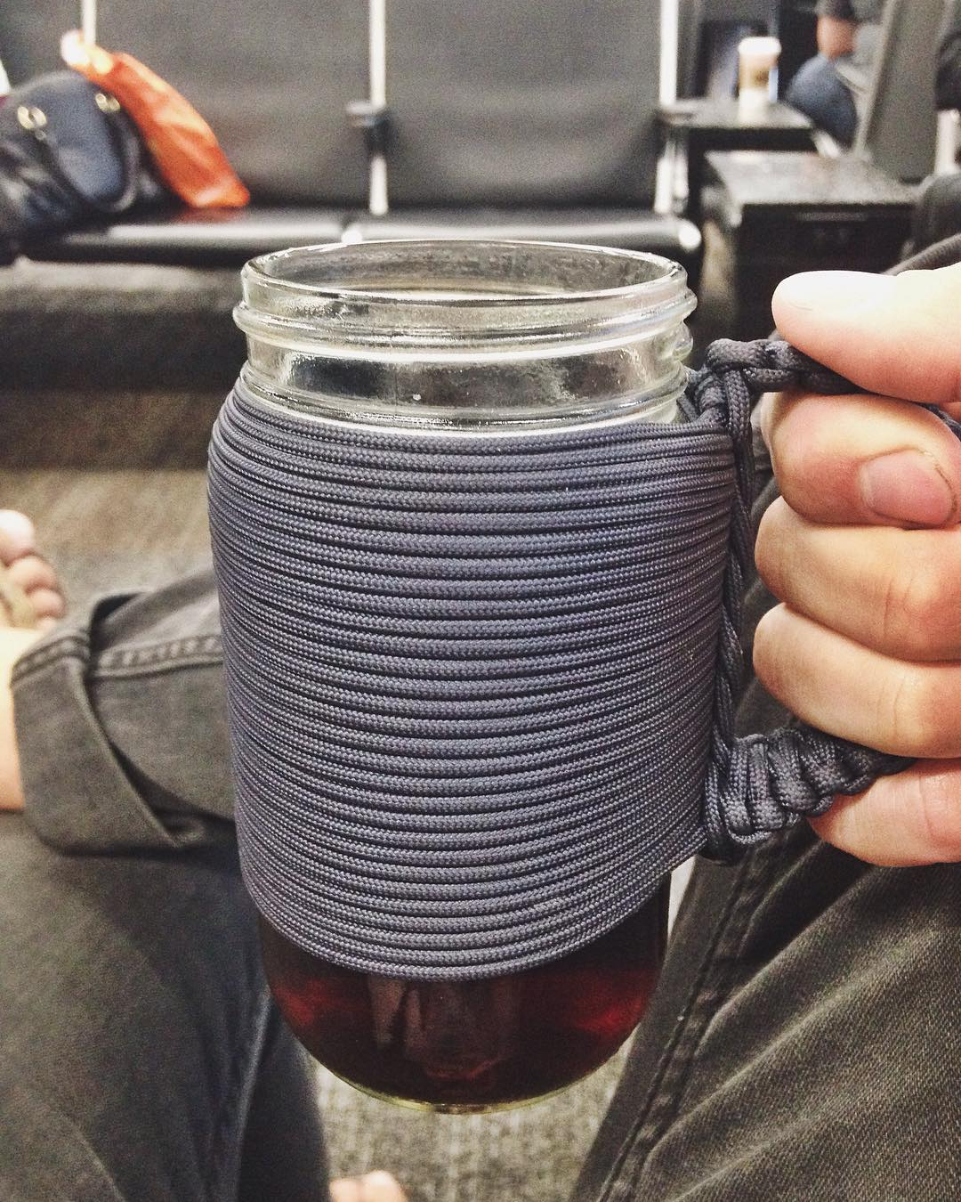 ~ Adventure Mug ~  We always travel with the durable and reusable Adventure Mug. The screw on top and paracord handle makes maneuvering through crowded airports with a hot coffee simple and spill free.  Pick one up in our online shop for your next...