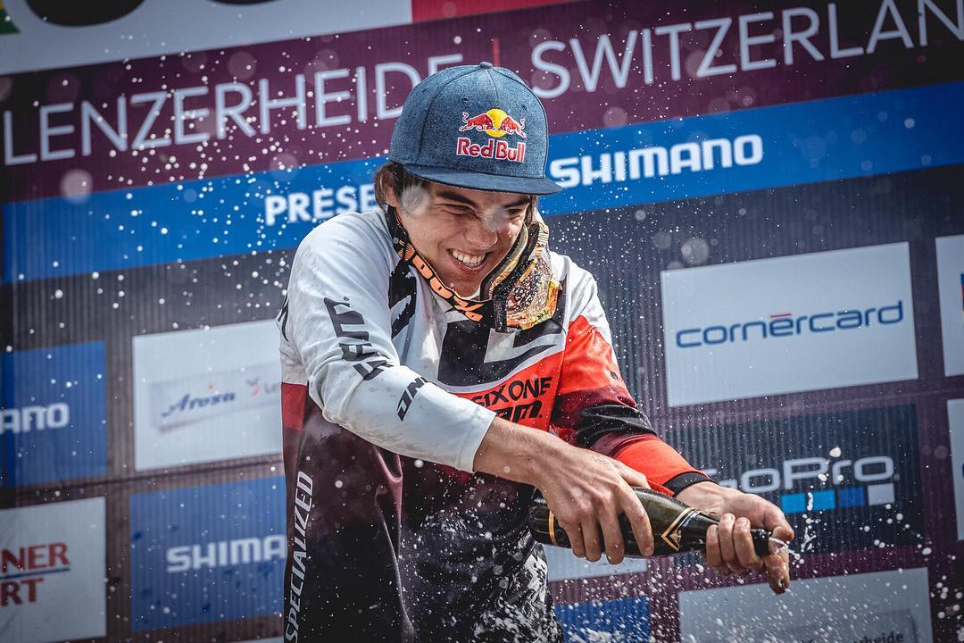 What a ride! Lenzerheide didn't disappoint... Number 1 plate and Champagne for @finniles ! Stoked for you dude!! Photo @davetrumporephoto #661Protection #SixSixOne #ProtectFun