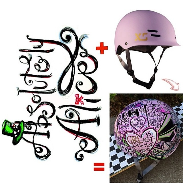 XS Helmets X Absolutely Alice X GN4LW  #girlshelmet #Sharpieart #xshelmets @absolutely_alice @girlisnota4letterword