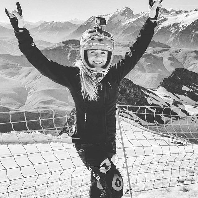 Hands up who had a RAD ride this weekend? #Repost @chloe_gallean keeping cool riding the Alpe D'Huez Glacier in our #RageKnee protection!