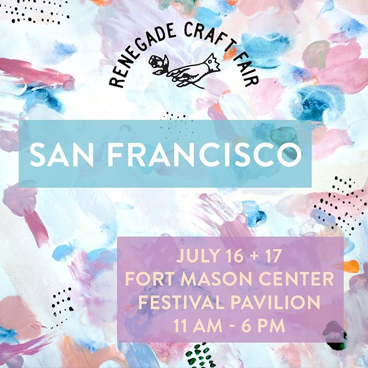Planning your weekend? Be sure to pop in to say hello this weekend at the Renegade Craft Fair located at the beautiful and splendid Fort Mason in San Francisco.  It's open all day for FREE to the public to come view the new hard work your favorite...