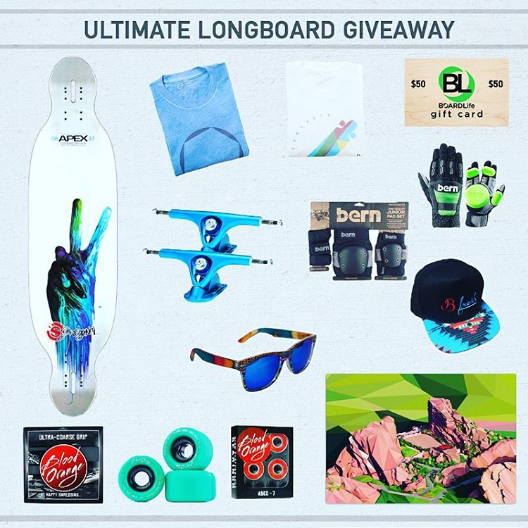 Giveaway time!  Click our profile link to enter to win gear from @bernunlimited @originalskateboards @paristruckco @bfreshgear @kinddesign @bloodorangewheels and concrete coast as well!  Prize package valued at $648.  #longboarding #longboardlife...