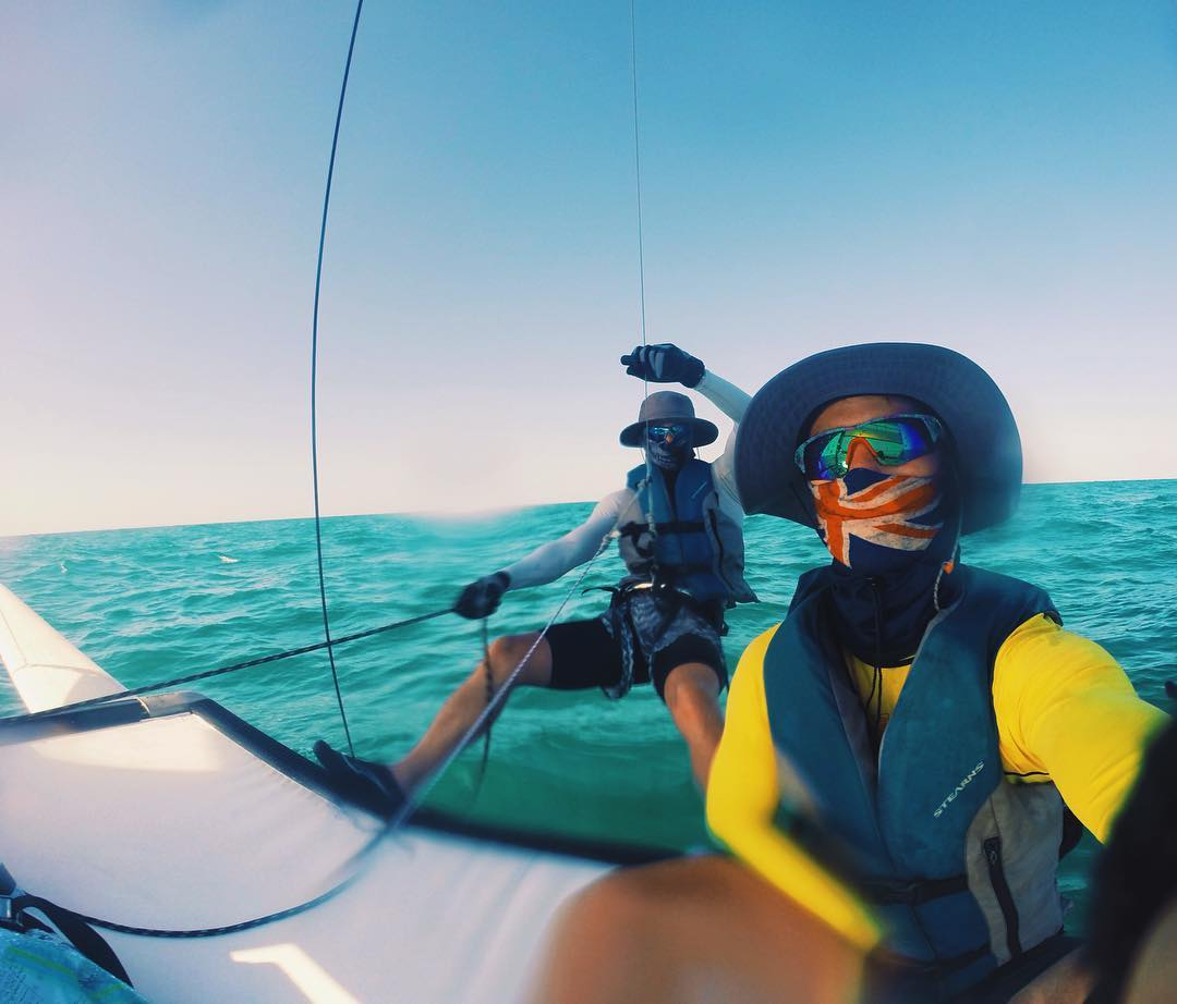 Sailing selfies with @hobiesears in the Screw with #HappyLens. . #SEEHAPPY #seehappysummer
