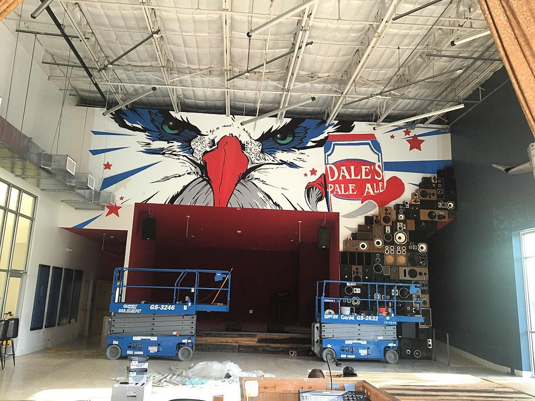 #wip by @watchyourmouf & @blvdart for @oskarblues • • #ATX #austintx #texas #tx #spratx #mural #dalespaleale #art #america #eagle #painteverything