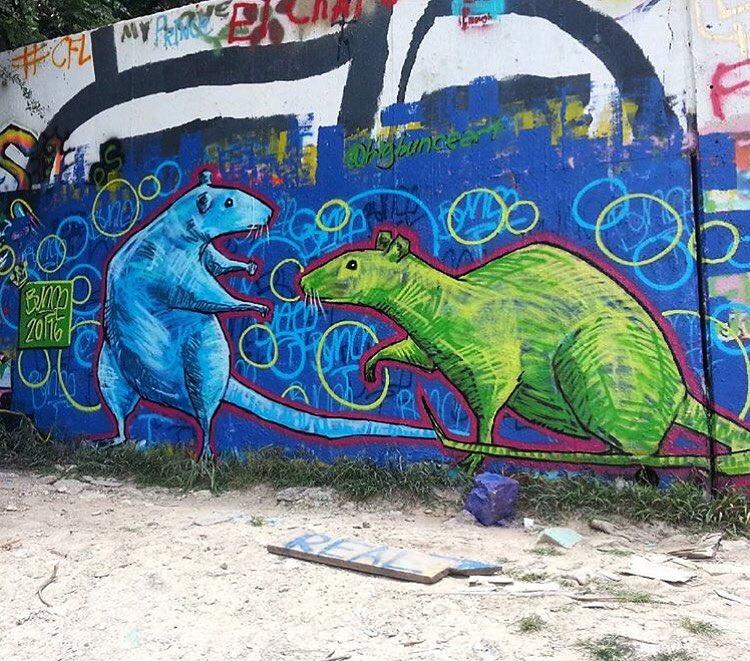@bigbunceart • • #ATX #Austintx #texas #tx #spratx #art #mural #streetart #rats #bunce