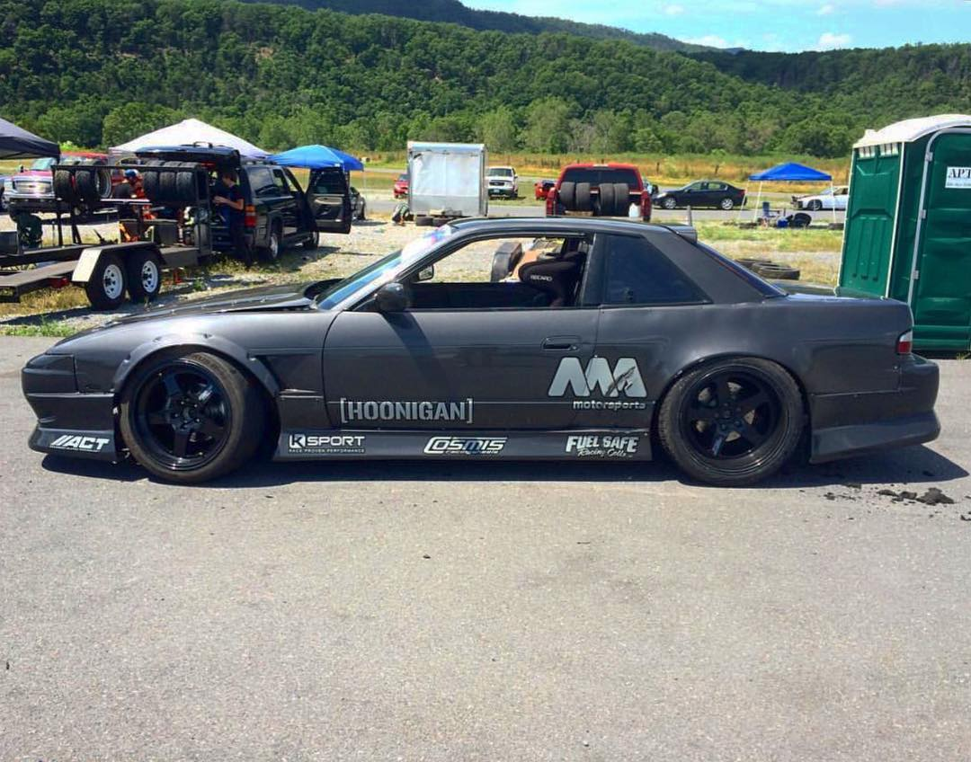 "Our dude @dylanhughes129 rocking the 28"" die-cut on the door of his LS3 powered s13. Where do you rock yours? #hoonigan"