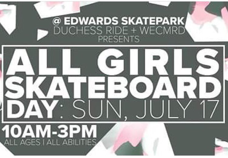 Join Duchess Ride on July 17th at the Edwards Skatepark in Edwards Colorado for a #girlsskateday. It's gonna be tons of fun so be sure not to miss it! @duchessride