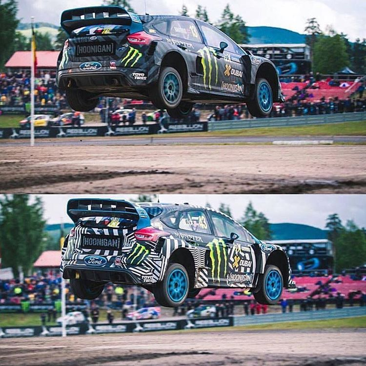 Who jumped it best? @AndreasBakkerud on top, me below. That was a fun little jump on the Rallycross track in Holjes, Sweden. Can't wait to go back next year! #airtimeisagoodtime #favoriterallycrosscourseever  #FocusRSRX #FordRallyX
