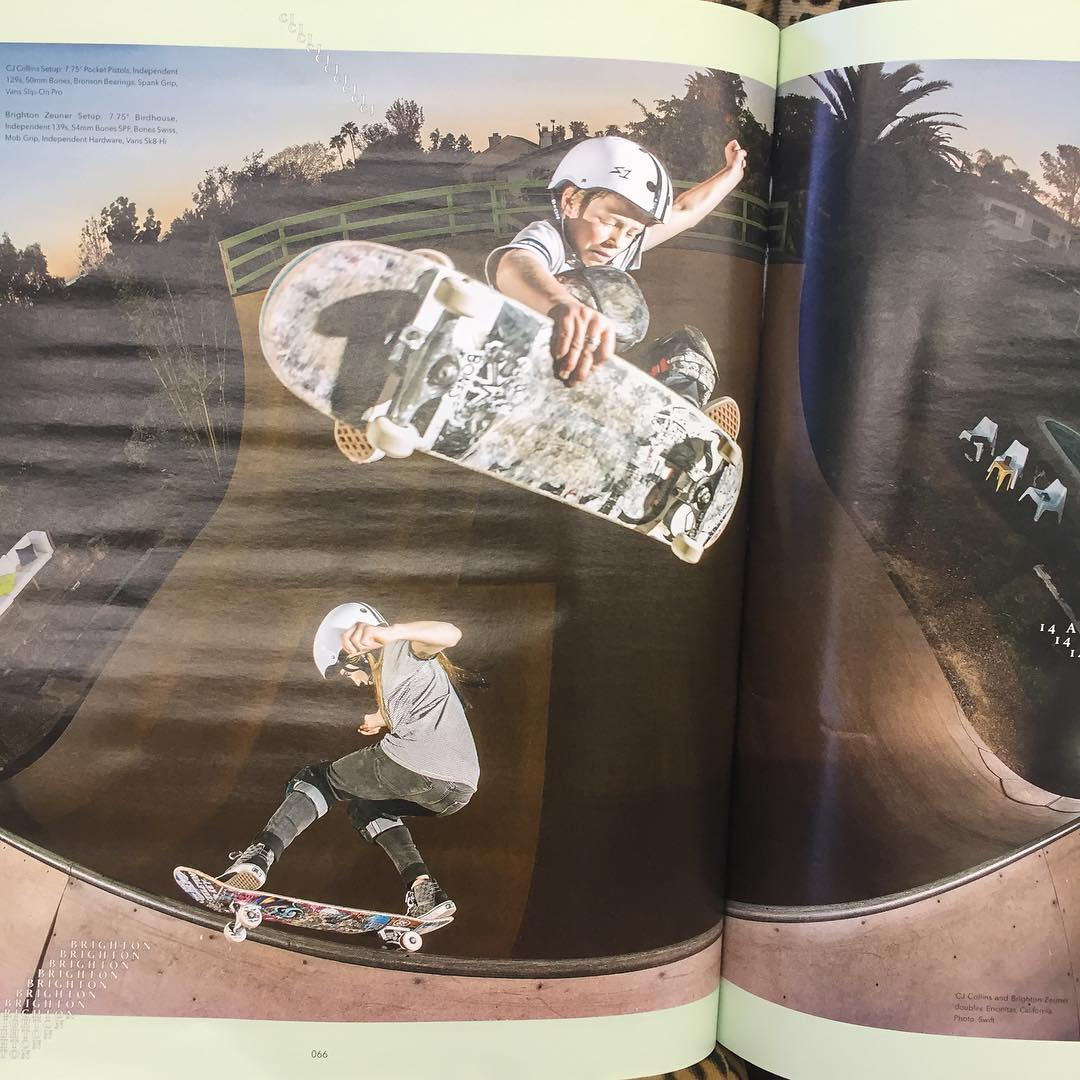 Stopped by @ogsouthbayskates and saw this in the @theskateboardmag . @cjcollinsskate fs air over @brightonzeuner . CJ and Brighton both wear S1 Lifer Helmets . #brightonzeuner #cjcollins #skatevert #backyardramp #s1helmets #liferhelmet #s1lifer
