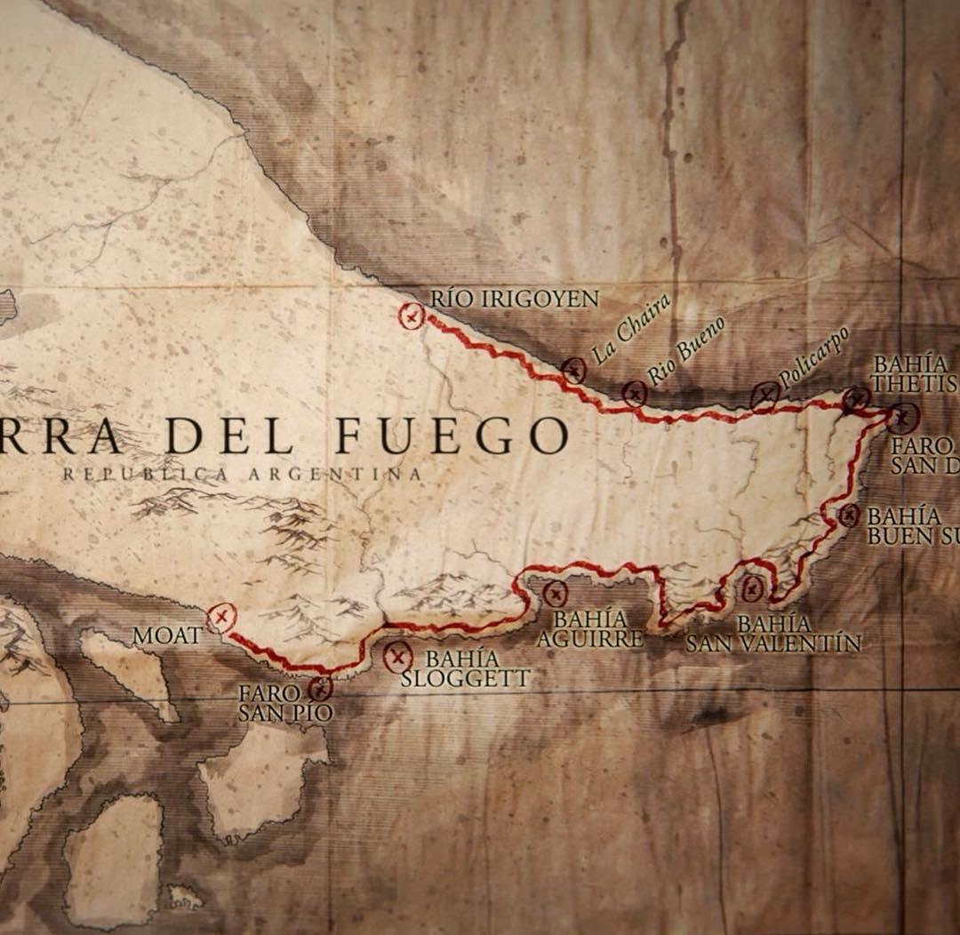 Este es el recorrido de la expedición por Peninsula Mitre a pie durante 53 días.  Estreno 5 de Agosto. #penínsulamitre #conservemos @patagonia @cevans999 @reefargentina. Grafica:@pablobrancatella