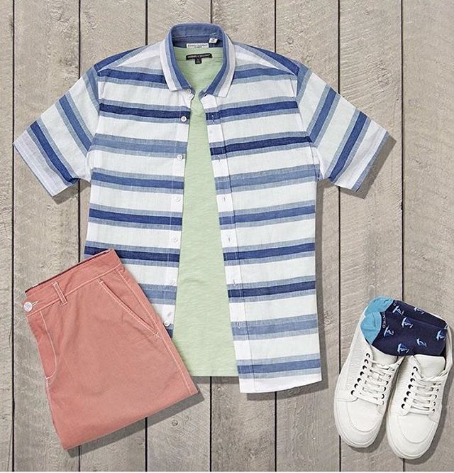 Bright colors & stripes- it's summertime! Featuring the Banks Slub Tee in Seafoam #menswear #mensstyle  @bombfell