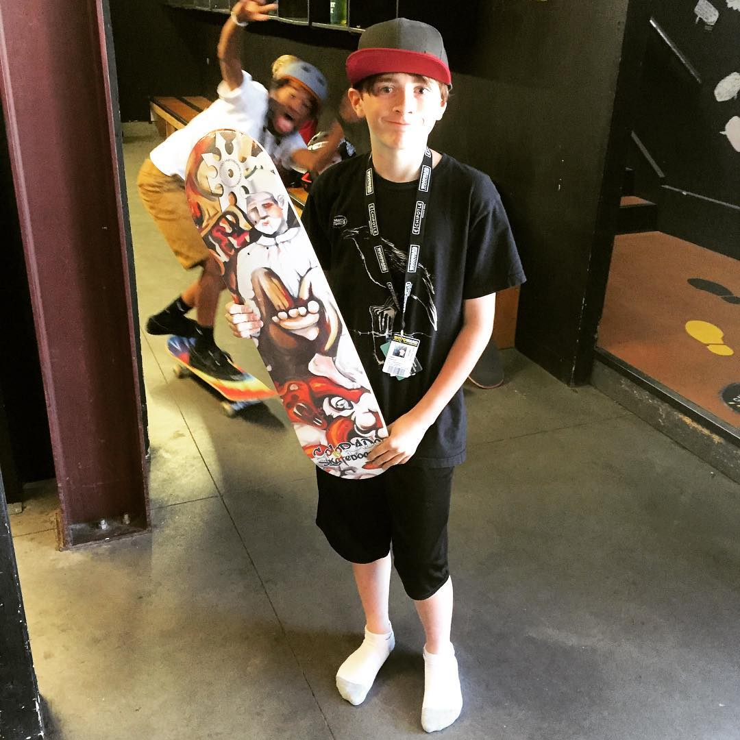 #colorardoskateboards stoke out in a quick game of #gofindtheskateboard at #woodwardcopper in #thebarn. Logan with the find and Autrey throwing in a photo bomb