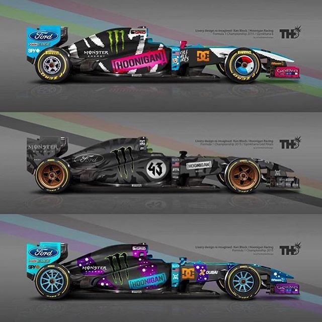 Pretty dope to see a few of my recent liveries mocked up on a Formula 1 car! Nice work, @TimHolmesDesign! Love the details, all the way down to the turbofans. Although my favorite one is the Hoonicorn version. Too bad F1 cars don't...