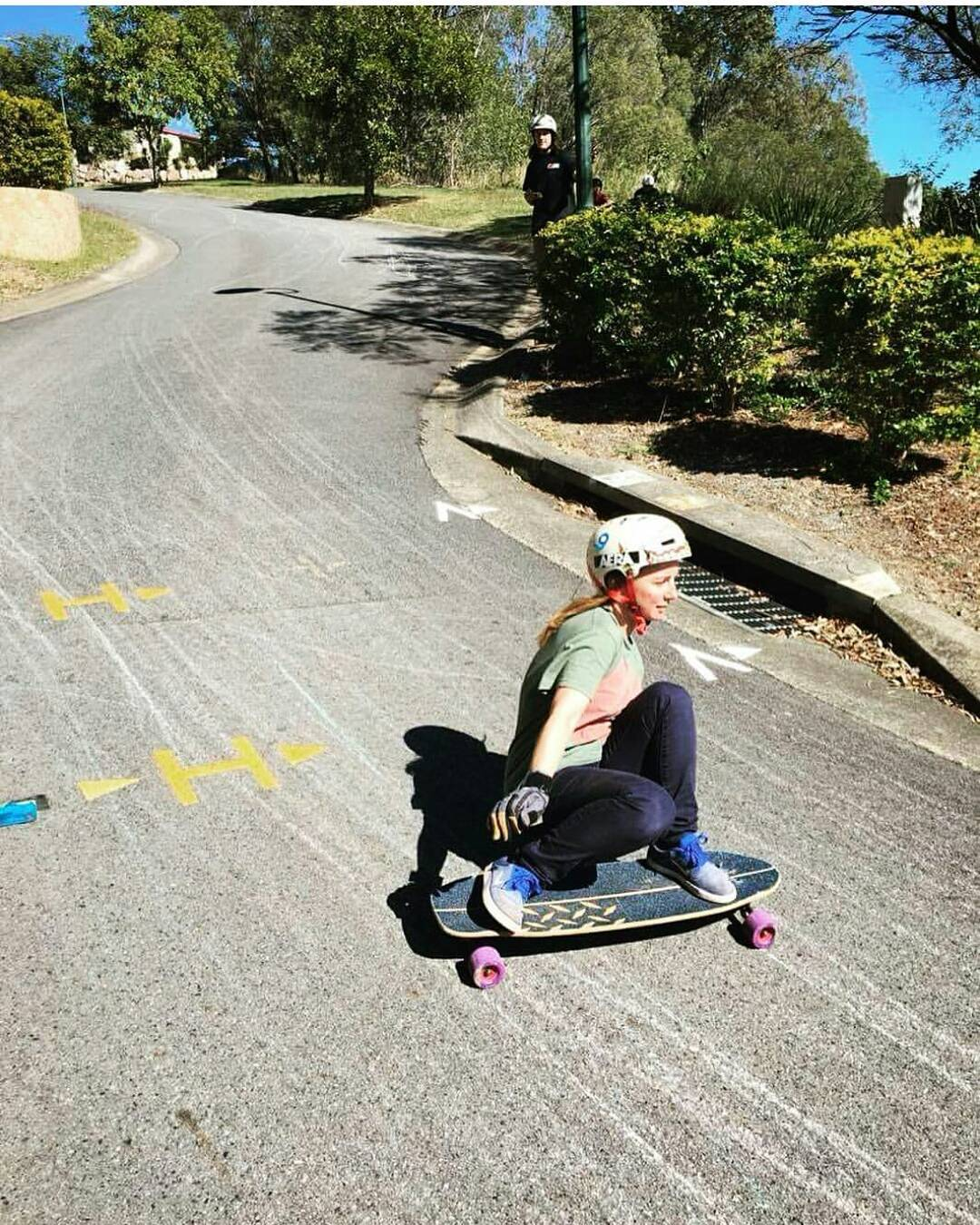 The always lovely #LoadedAmbassador @annanas_selina getting drifty with impeccable style on the golden roads of Australia.  #LoadedBoards #Truncated #Tesseract #Orangatang