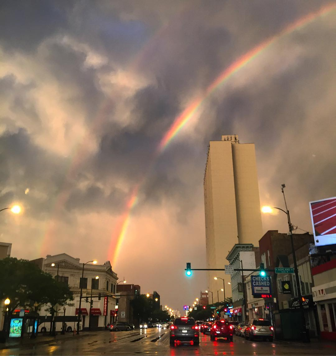 Double Rainbows and Alpenglow in Chicago #