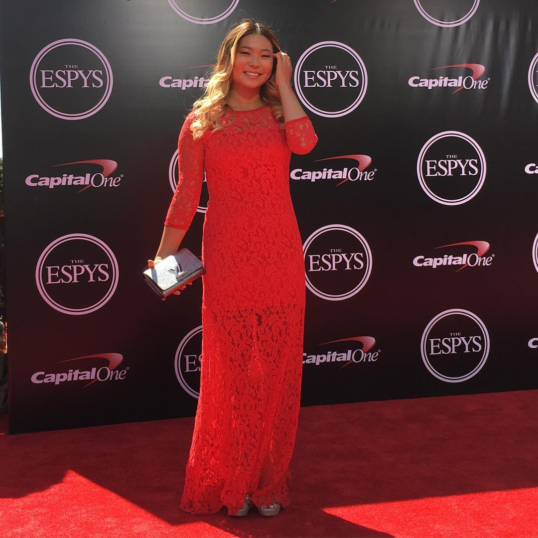 Three-time ❌ Games gold medalist @ChloeKimSnow has arrived on the #ESPYS red carpet!