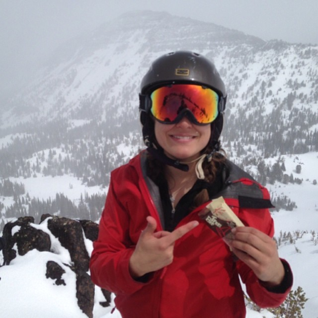 Kate Baustian enjoys the @kates_real_food #TramBar deep in the #Wallowas.  #realfood for #realplay. // #plantyoursoul