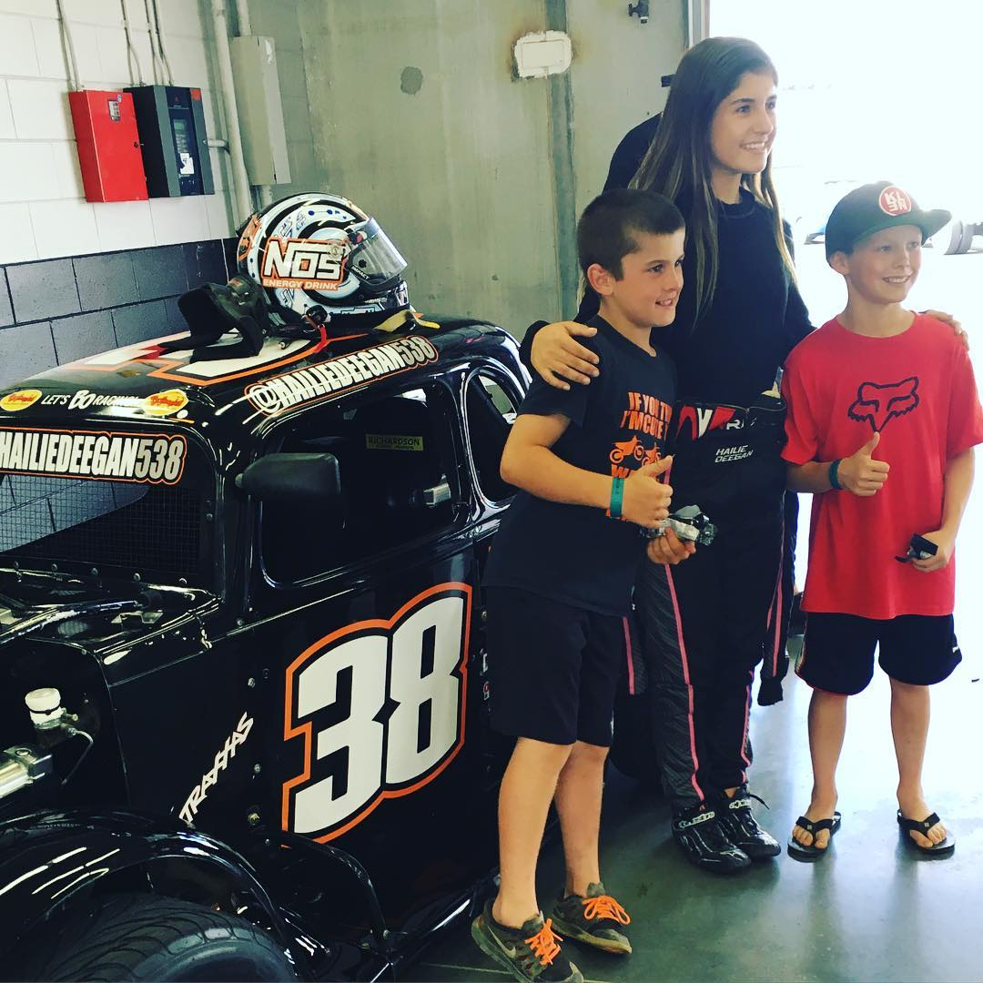 @hailiedeegan538 hanging with the boys. #legendcars #nascar Program.