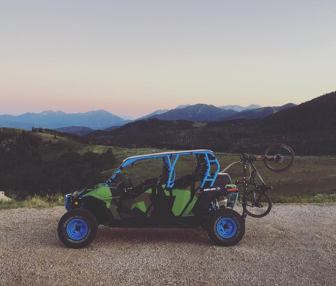 Regram from @Ken_Butch as he grabbed our @CanAmOfficial Maverick bike shuttle from the top of the #ParkCity mountains, to bring it back down and meet us for dinner. Definitely the best way to shuttle. #mountaintownlife #CamAm_by_KenBlock #MaverickXRS